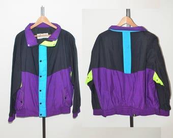 Vtg Horizon Sportswear Color Block Neon Horizon Sportswear Full Zip Outdoor Windbreaker Jacket Mens Large | Vintage Nylon Windbreaker