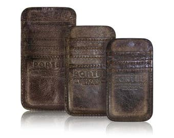 iPhone RETROMODERN aged leather pocket - - DARKBROWN