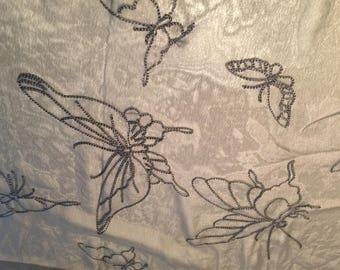 """Embroidered BUTTERFLY Semi-sheer tulle organza fabric yardage 45""""x 36"""" inches"""