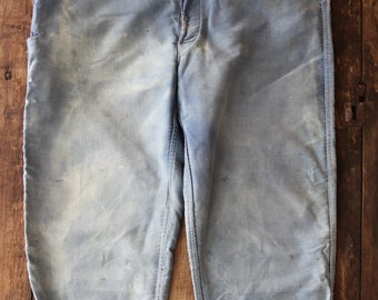 "Vintage 1950s 50s french blue bleu de travail moleskin trousers pants sun faded repaired buckle back 39"" x 25"" rivet suspender button fly"