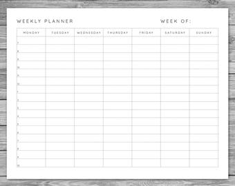 Printable, Landscape Minimalist Weekly Planner, Weekly Schedule, Weekly Agenda, Desk Planner, Planner Download, To Do List, A4, 8.5 x 11