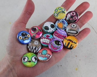 Handdrawn Monsters - pack of 5 one inch pins (random)