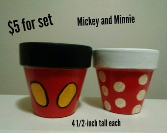 Mickey and Minnie Mouse inspired pots