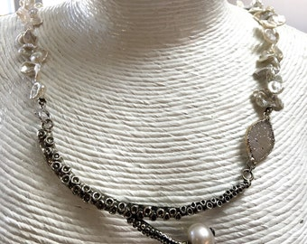 Silver octopus tentacle necklace/ pearl tentacle necklace / druzy octopus tentacle necklace by Zulasurfing