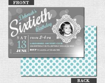 Milestone birthday invitations chalkboard party design any milestone birthday invitations vintage photo party design any age any color w filmwisefo