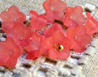 100pcs Small Lucite Acrylic Flower 11x7mm Frosted Pink 5 Petals