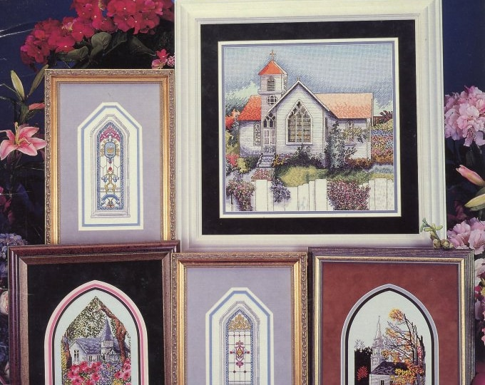 COUNTED CROSS STITCH; large leaflet, churches, 7  black and white charts, 5 churches and 2 windows, year 1996, Vintage