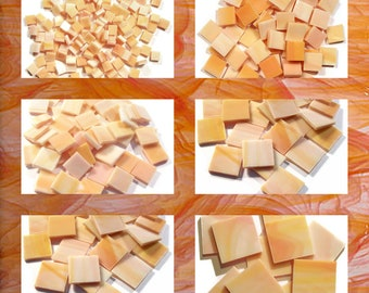 Orange Creamsicle Squares Stained Glass Mosaic Tiles Opal Hand Cut Spectrum