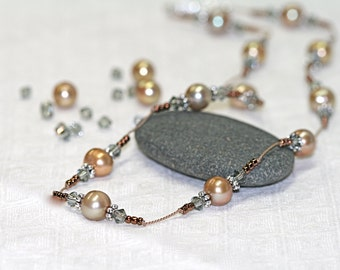 Pearl necklace with silk and Swarovski crystals