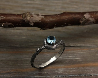 Tree branch engagement ring with topaz, Tree silver engagement ring, Branch silver ring, Unique branch ring, Unusual womens engagement ring