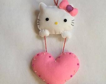 Personalisable Hello Kitty felt wall hanging
