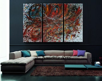 """Large Wall Art ABSTRACT PAINTING Acrylic Home Decor Red Landscape Abstract 72""""x48"""" Canvas Painting Contemporary Art Wall Decor, Wall Hanging"""