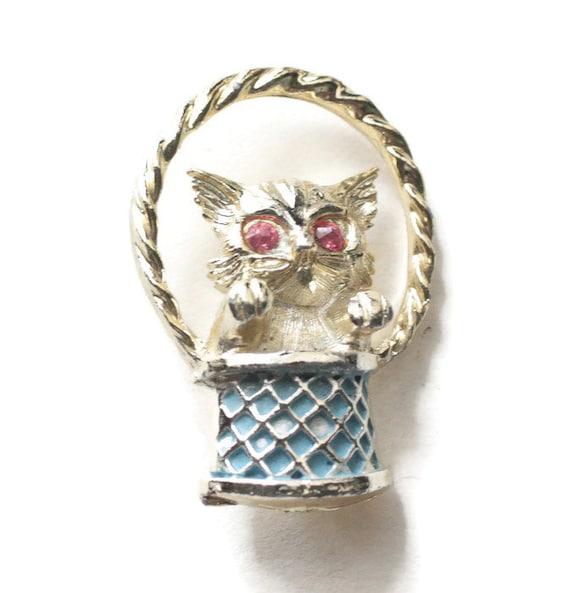 Kitten in Basket Pin Rhinestone Eyes Blue Enameled Basket Signed Gerrys Vintage Brooch