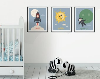 Set of 3 Printable Art - Cute Nursery Art Print, Nursery Illustrated Poster Baby Room boys girls Kids, Cute Wall Art