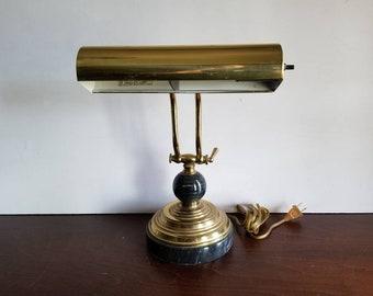 Adjustable Brass & Marble Desk Lamp