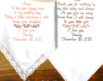 Wedding Gift, Handkerchiefs Embroidered Wedding Handkerchiefs Mother & Father of the Bride, Embroidered Wedding Gifts By Canyon Embroidery