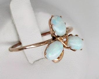 gold opal ring, art deco ring, Australian opal ring, three opals ring, art deco opal ring, art deco engaegment, clover ring, flower ring