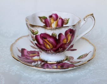 Queen Anne Windsor Rose Cup and Saucer, Queen Anne H Bailey Teacup and Saucer, Vintage English Bone China Tea Cup