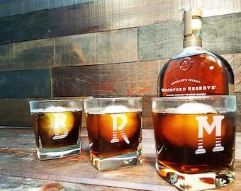 Groomsmen Gifts,  Square Whiskey Glasses, Whiskey Glasses Personalized, Engraved Rocks Glass, Monogram, Scotch Glass, Groomsman Gift Set