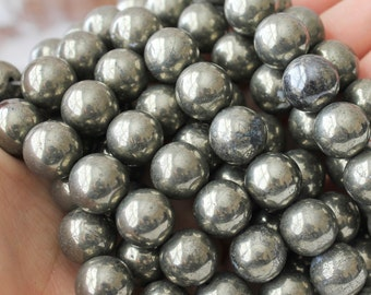 12mm round Silver Pyrite Beads Full Strand Rustic Beads Fools Gold