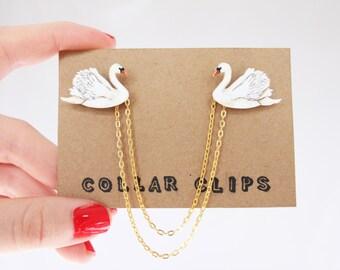 Collar Clips: Swan