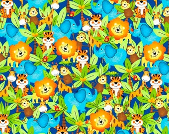 Blue Elephant Fabric, Monkey Fabric, DIY Baby Shower Gifts, Novelty Fabric, Cotton Fabric By The Yard, Quilting Fabric, 1 yard fabric, Quilt