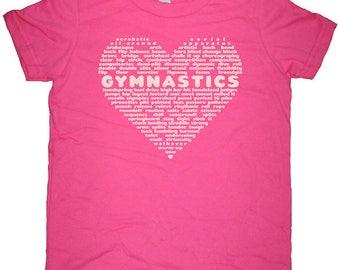 Gymnastics Shirt - Love Gymnastics Girls Shirt - Great Gift for a Gymnast - Heart with Gymnastics Words Size 2T 4T 6 8 10 12 Present T Shirt