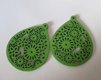 prints 2 openwork wood, wood beads drops green 50 x 38 mm