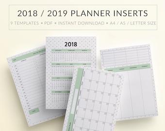 Printable Planner Inserts, Printable Planner Pages, Printable planner refills, Planner inserts template, Printable Planner 2018, A5 Inserts