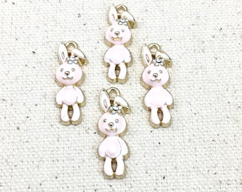 4 rabbit charms white enamel  and gold/ 9mm x 26mm #CH 590