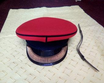 Vintage Military Cap, Formal Dress Uniform Hat,  Offices Cap, Steam Punk, WW2 Reenactors, Herbert Johnson Cap Size (56)  6 7/8