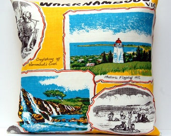 Cushion Cover Vintage Linen Tea Towel Warrnambool Victoria Great Ocean Road Australia