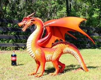"""Red Dragon Sculpture or Statue Wings and Sharp Teeth with Long Tail 51"""" Long"""