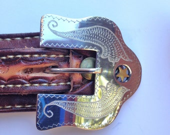 Handtooled Leather Belt Size 30 Waist Western Belt Size 34