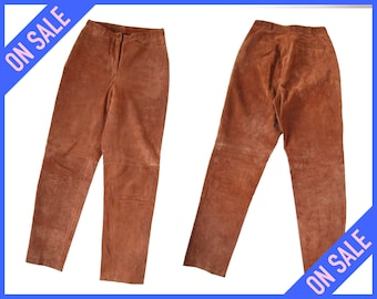 """SALE - Y2K High Waisted Tapered Muted Soft Sienna Brown Suede Trousers Pants (Women's Size 27"""" Waist) #JP005"""