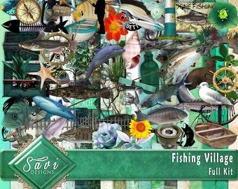 Digital Scrapbooking Kit FISHING VILLAGE Fish, nautical, boats, beach, summer, fishing for Scrap Pages