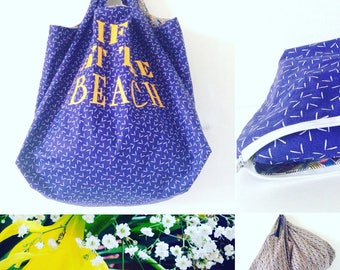 Sac fourre tout coton bleu imprimé Life is better at the beach réversible et pliable coton ethnique