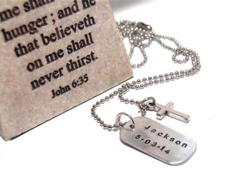 COMMUNION Gift. Boy's Communion. First Reconciliation Cross Necklace. Stamped dogtag with name and date of Communion. Cross charm.