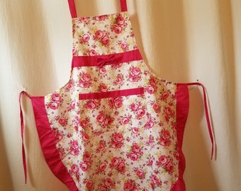 Vintage Bib Apron, Country Kitchen Cotton Fabric of Colorful Pink Roses Pattern with Pink Ruffle Trim.