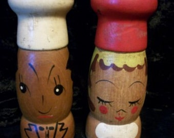 Salt & Pepper Shakers, Wood, Japan