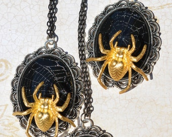 Spider and Web Pendant Necklace