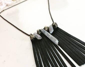 Medium black leathee tassle necklace