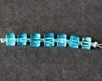 Set of 7 beads square apatite blue