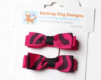 Pink Zebra Tuxedo Bow. Small Baby Hair Clippie With No Slip Clip. Toddler Girl Hair Clip Set of 2. Black and Pink Small Boutique Hair Bows