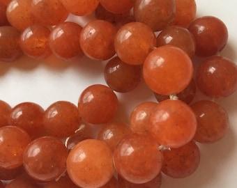 10mm Round Orange Jade Beads  Jewelry Supply FULL STRAND  Mountain Jade Beads