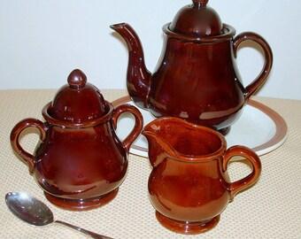 Coffee Tea Service 5-Piece Vintage Large Lidded Pot  Sugar Bowl with Cover Creamer Brown  Ceramic Americana Design  REDUCED PRICE