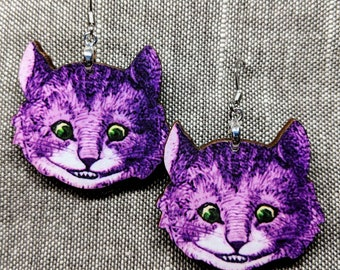 Cheshire Cat Earrings / Handmade Earrings / Laser Cut Wood Earrings / Alice in Wonderland Earrings / Fantasy Earrings Literary Illustration