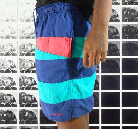 Surf Clothing/ Board Shorts/ Mens Shorts/ Swimming Trunks/ Color Block Shorts/ Geometric Print/ 90s Mens Shorts/ Color Block Shirt jeD6n5xSJP