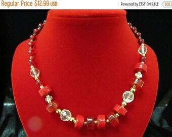 On Sale Vintage Red Glass Beaded Necklace Item K #1277