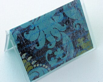 Blue - Swirls - Glittered - Business / Debit / Credit / Gift Card Case / Wallet / Holder / Cover